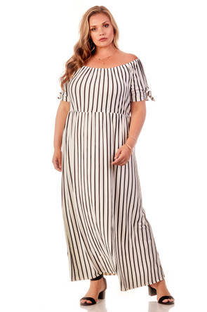 Plus Off The Shoulder Tie Sleeve Maxi Dress