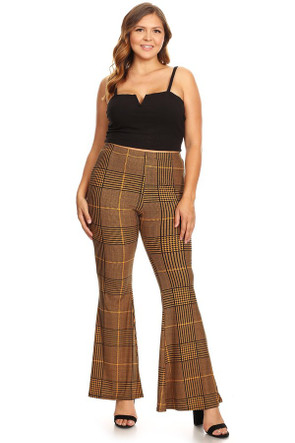 Plus Plaid  Wide Leg Flare Pant