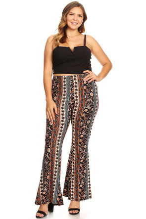 Plus Aztec Wide Leg Flare Pant