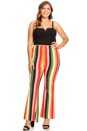 Plus Striped  Wide Leg Flare Pant