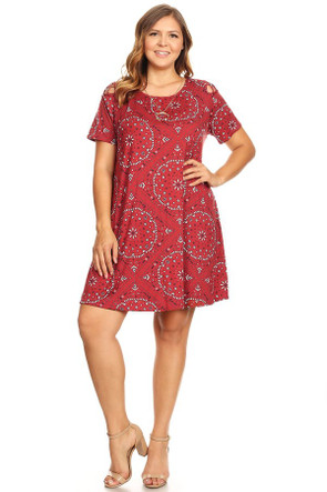 Plus Bandana Print Shoulder Caging Swing Dress