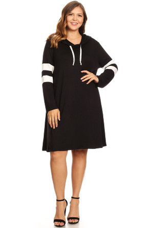 Plus Long Sleeve Hood Sport Swing Dress