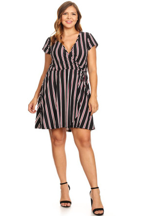 Plus Striped Cap Sleeve Wrap Dress