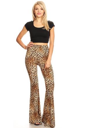 Animal Print Wide Leg Flare Pant