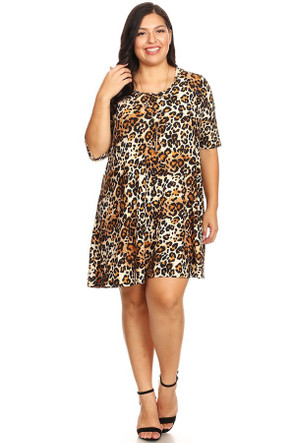 Plus Animal Print Brushed Swing Dress