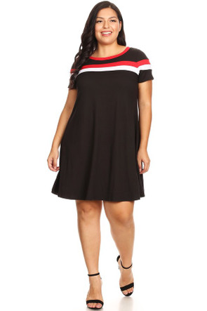 Plus Brushed Stripe Insert Ringer Dress