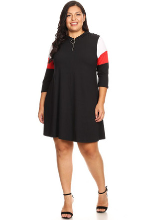 Plus Colorblock Zip Up Long Sleeve Dress