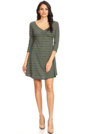 Ribbed Striped Swing Dress