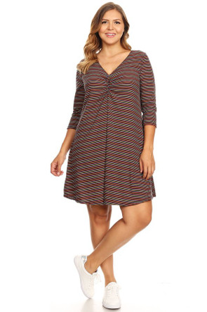 Plus Ribbed Striped Swing Dress