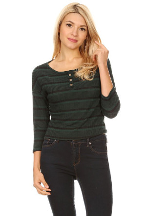 Ribbed Knit Henley Top