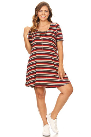 Plus Ribbed T-Shirt Swing Dress