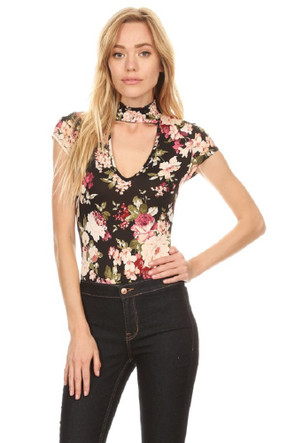 Floral Choker Cut Out Bodysuit