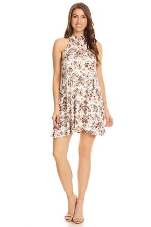 Floral Halter Swing Dress