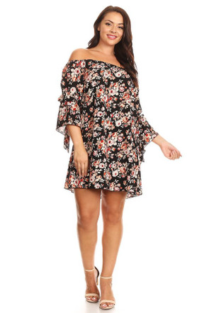 Plus Crepe Off The Shoulder Mini Dress