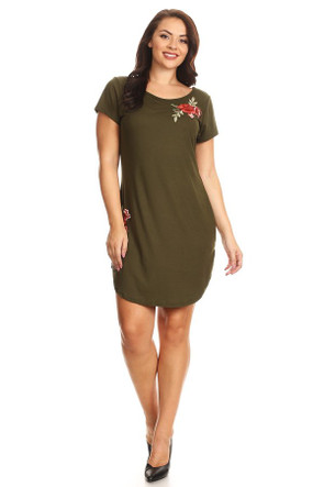 Plus Rose Embroidery Tee Dress