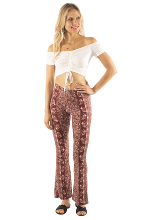Elephant Print Bell Bottom Pant