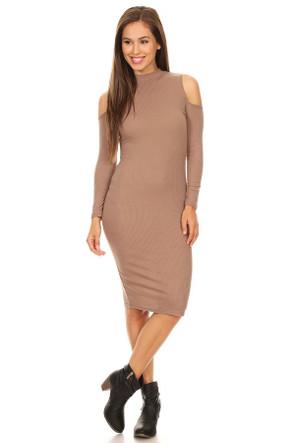 Ribbed Cold Shoulder Dress