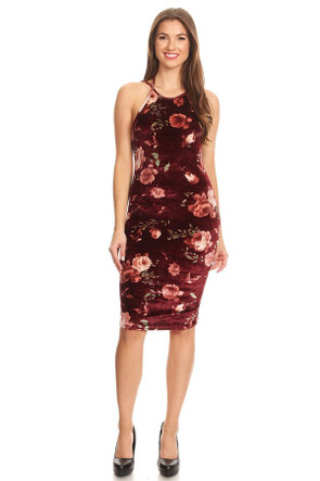 Velvet Spaghetti Bodycon Dress