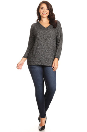 Plus Sweater Knit V Neck Top