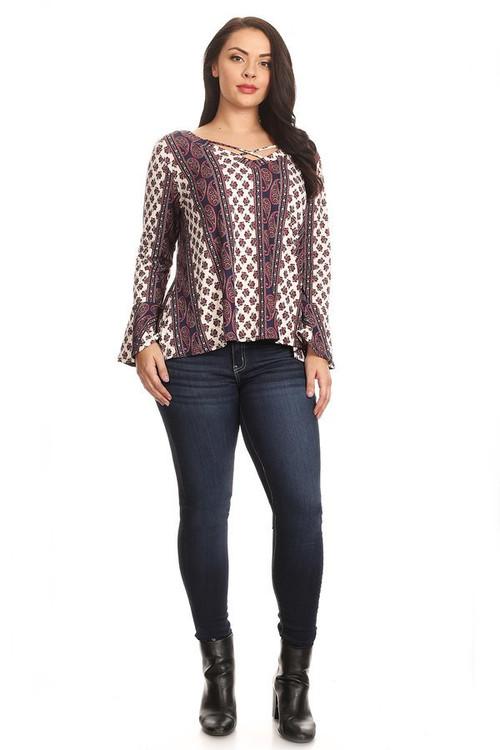 Bell Sleeve Cross Front Blouse: Violet Paisley Stripe (Plus)