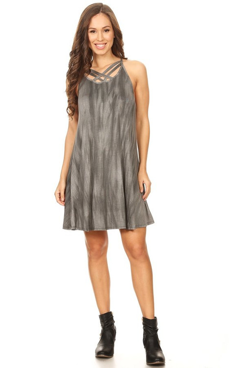Cross Hatched Front Dress: Smoky Tie Dye