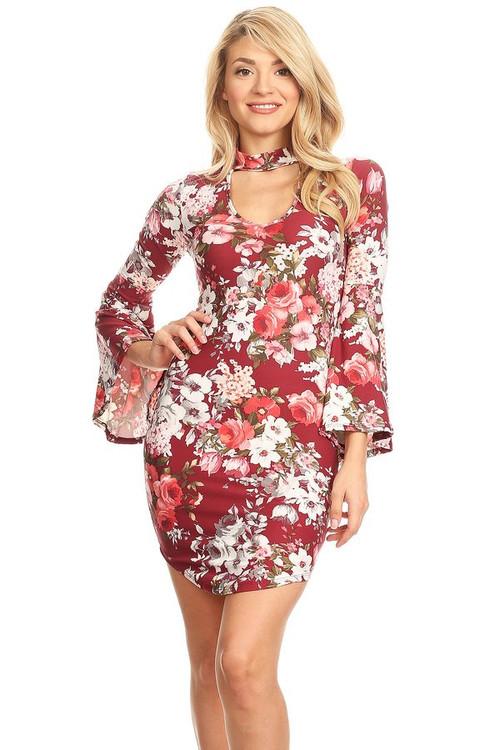 Bell Sleeve Mini Dress: Burgundy Floral