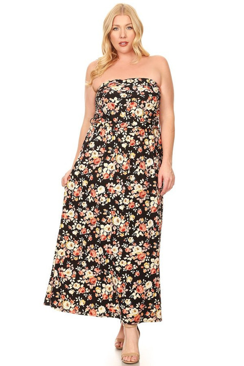 Ruched Belted Maxi: Black Floral (Plus)
