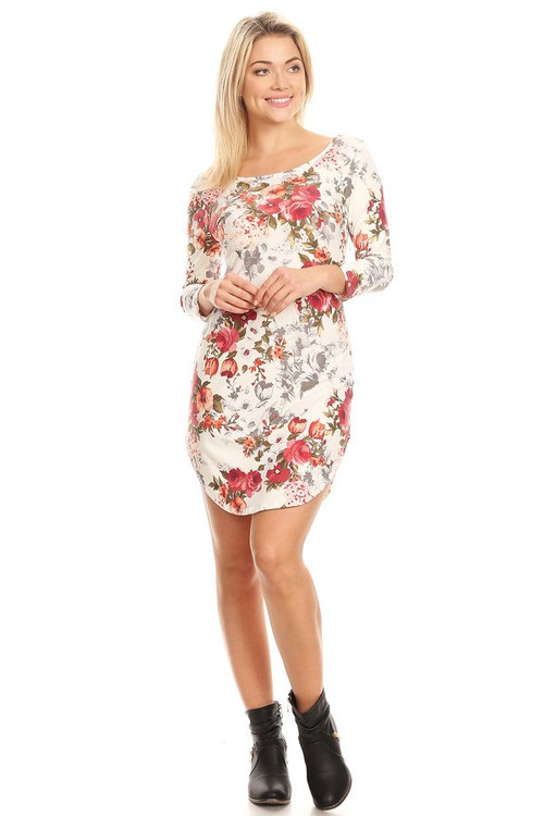 3/4 Sleeve Body Con Dress: Ivory Floral