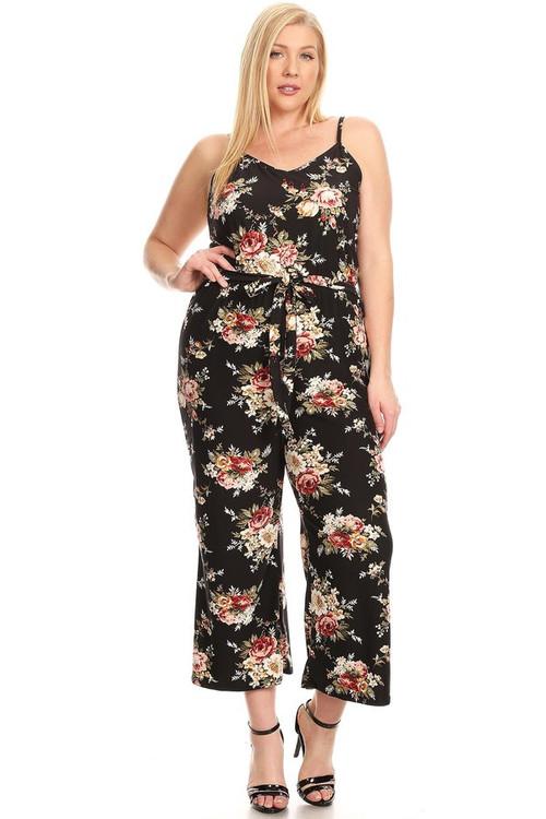 Floral Knit Jumpsuit: Black (Plus)