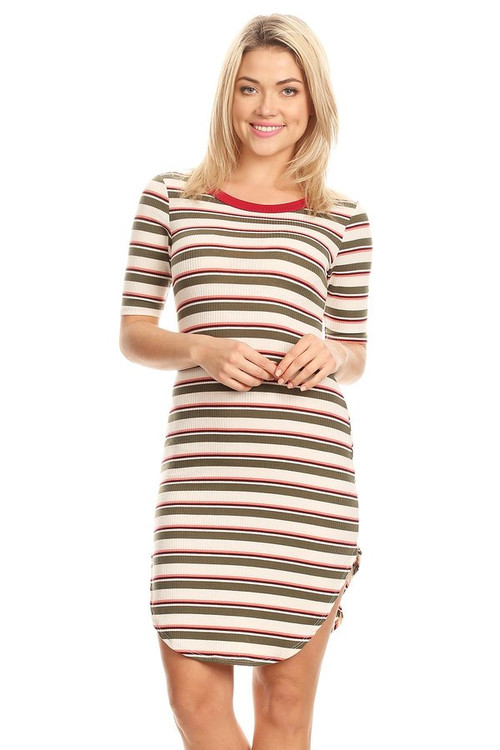 Ribbed Tee Dress: Olive & Mauve Wide Striped