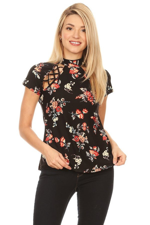 Cut Out High Neck Top: Black Floral