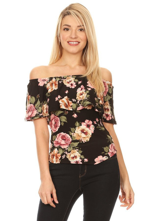 Off Shoulder Ruffle Top: Black Floral