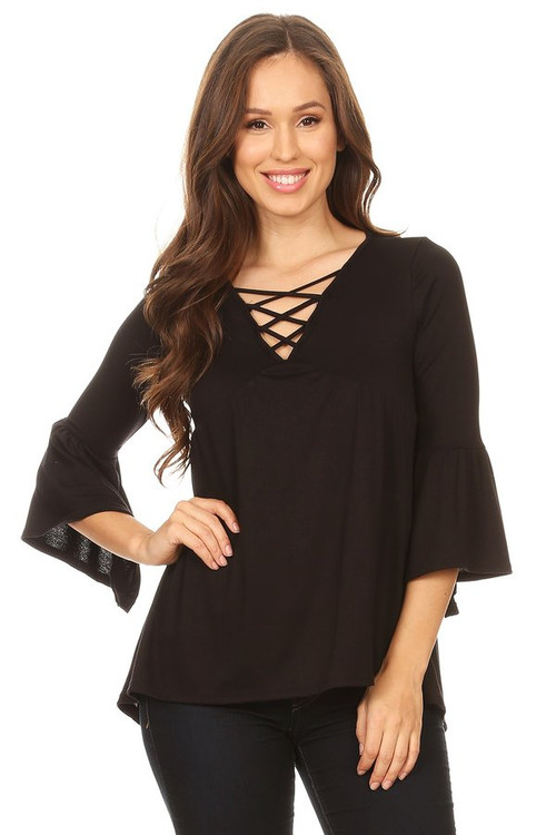 Cross Front Bell Sleeve Blouse: Black