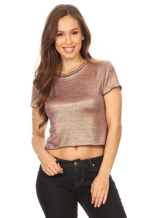 Metallic Crop Tee: Rose Gold