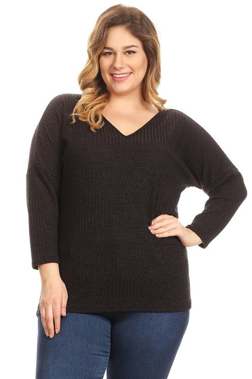 Ribbed Knit Top:  Charcoal  (Plus)