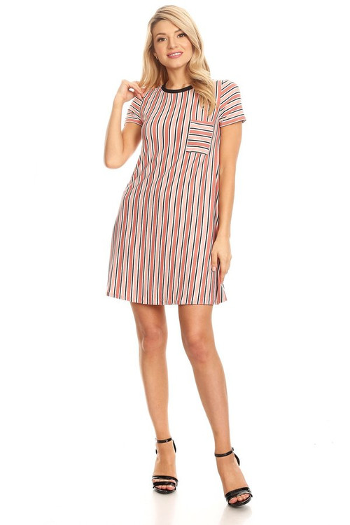 Pocket Tee Shirt Dress: Mauve Stripe