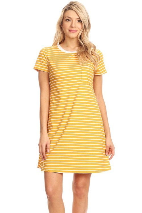 Pocket Tee Shirt Dress: Yellow Stripe