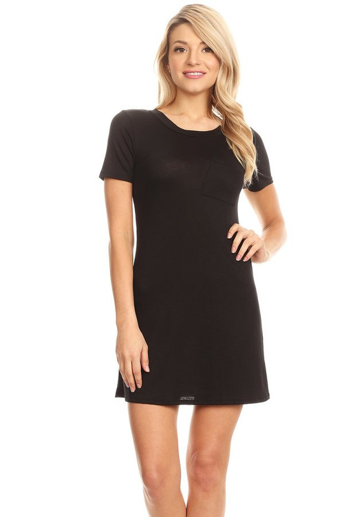 Pocket Tee Shirt Dress: Black