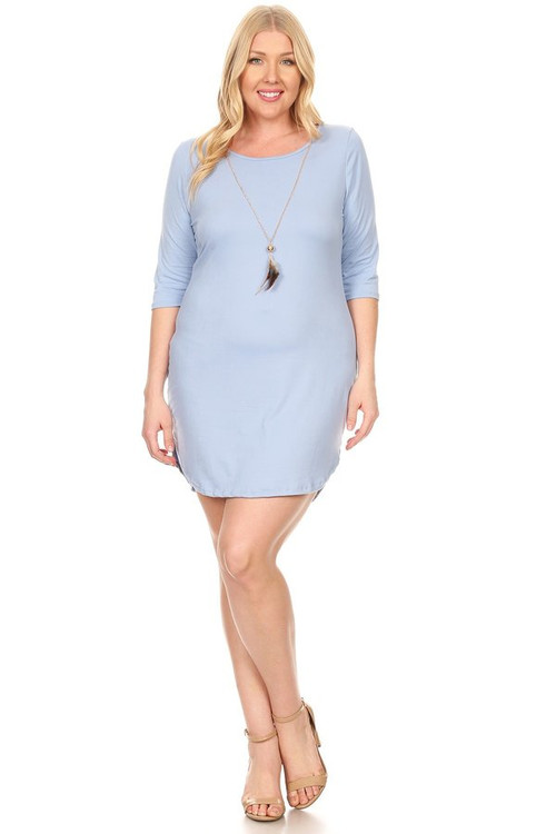 3/4 Sleeve Bodycon Dress With Necklace: Baby Blue (Plus)