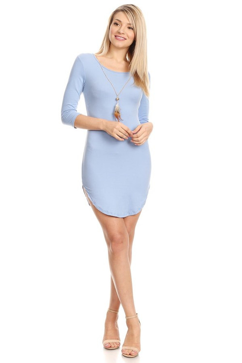 3/4 Sleeve Bodycon Dress With Necklace: Baby Blue