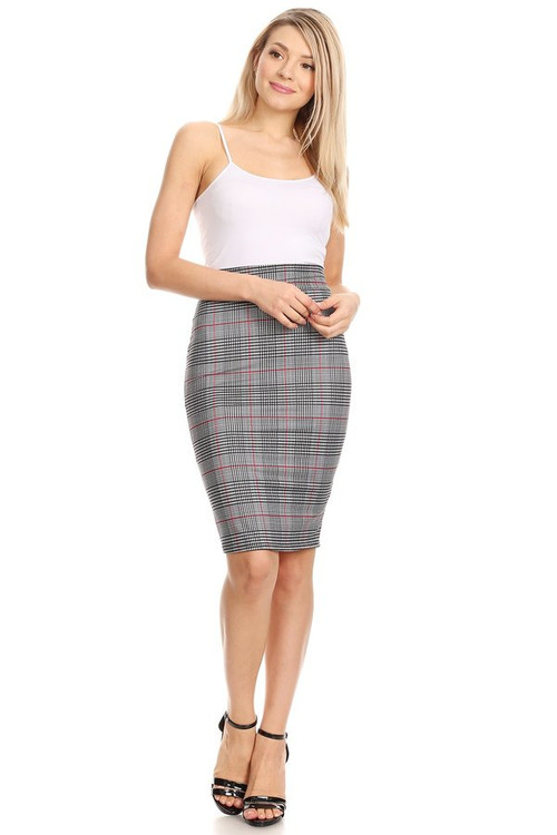 The 'Brushed' VIBE Pencil Skirt: Black Red Plaid