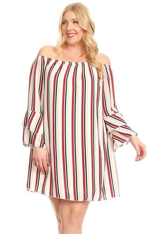 Woven Off The Shoulder Dress: Burgundy Stripe (Plus)