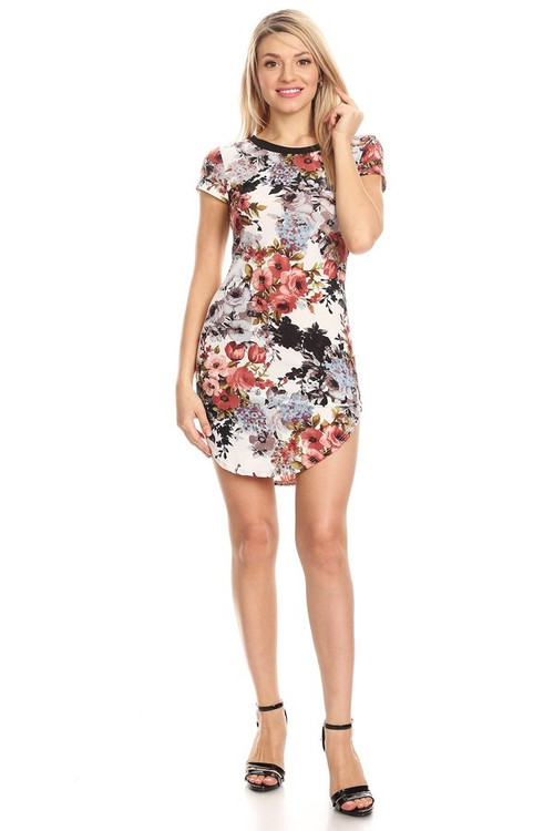 Ringer Curve Body Con Dress: Ivory Slate Floral