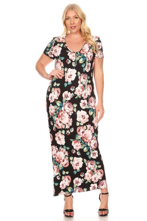 Circle Zipper Maxi Dress