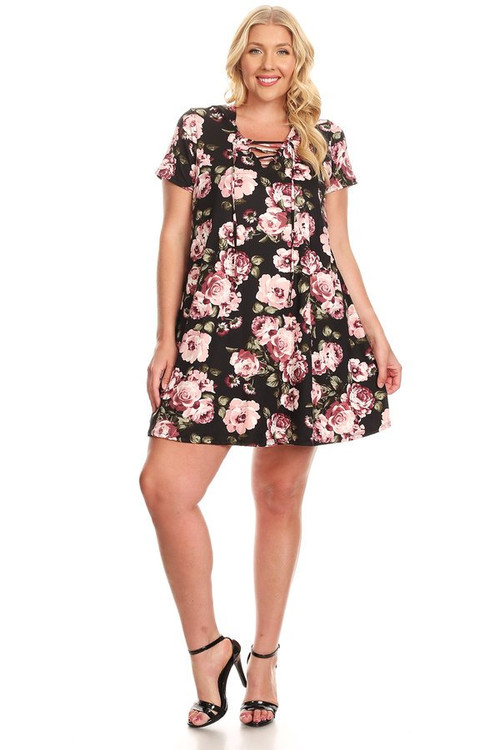 Lace Up Hooded Swing Dress (Plus)