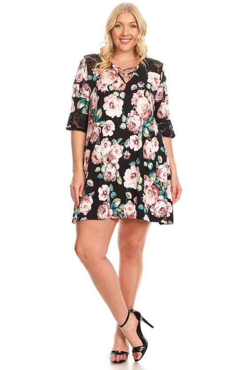 Lace Insert Swing Dress With Cross Front Detail: Blush Spring Floral (Plus)