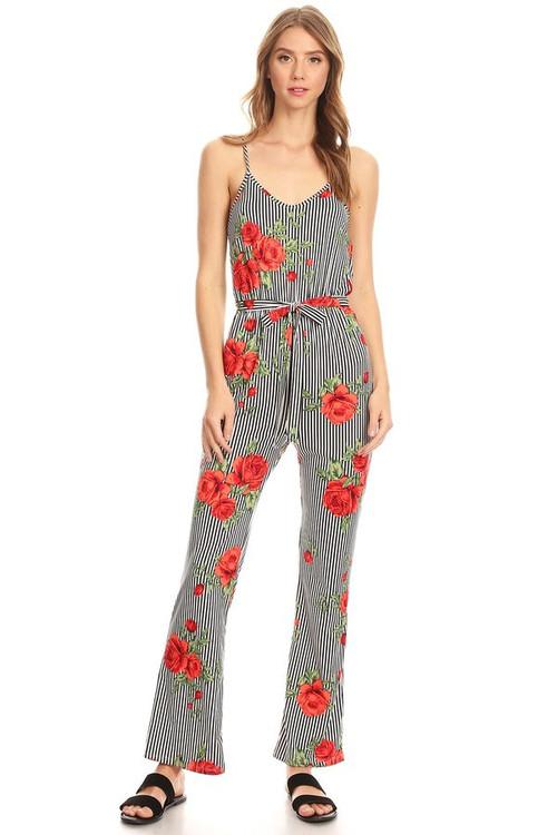 Knit Jumpsuit: Black Striped Rose