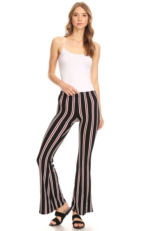 Striped Flare Pants: Black & Red