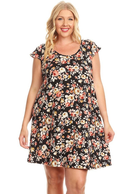 Cage Back Swing Dress: Black & Taupe Floral (Plus)