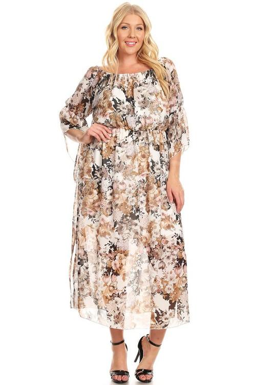 Off The Shoulder Angel Sleeve Maxi Dress